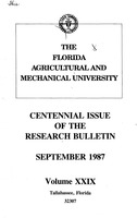 Research bulletin - Florida Agricultural and Mechanical University. 1987