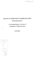 Equality of opportunity in higher education: Myth or reality