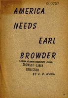 America needs Earl Browder