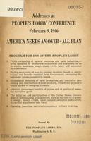 Addresses at People's lobby conference: February 9, 1946