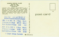 [Back of postcard showing rates and giving a description]