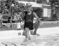 [Marshall Tabacci, owner of the Villa Capri Motel on Sanibel clowning around by the pool]
