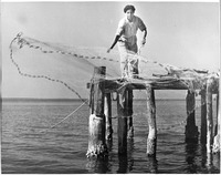 Esperanza Woodring Throws a Cast Net from Dock