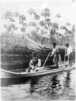 [Three Seminoles pole their canoe, possibly at Alva on the Caloosahatchee]