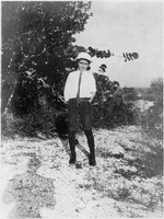 [Clinton Eliah Sears strolls along a typical Sanibel shell path at the turn of the century]