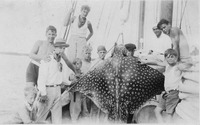 Group of boys with Eagle Ray