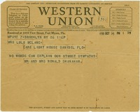 Telegram Expressing Sympathy for Roscoe McLane's Death