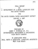Final report on development of a model landscape code for South Florida for South Florida water management district, January 4, 1987