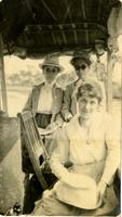 Evelyn Bubbett, Etta Silverfriend, and Imogene Bubbett Rahn on board a Koreshan boat