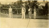 Ruth, Laurie, David, and Albert playing tennis