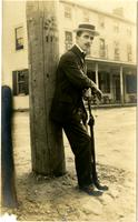 Laurie Bubbett Leaning Against Telephone Pole
