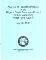 Analysis of Projected Impacts of the Alligator Chain Drawdown Project on The Surrounding Water Table Aquifer