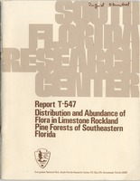 Distribution and Abundance of Flora in Limestone Rockland Pine Forests of Southern Florida