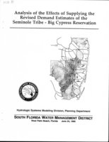Analysis of the Effects of Supplying the Revised Demand Estimates of the Seminole Tribe - Big Cypress Reservation