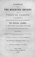 Address before the Dialectic society of the Corps of cadets