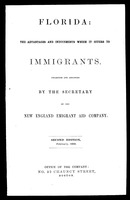 Florida, the advantages and inducements which it offers to immigrants